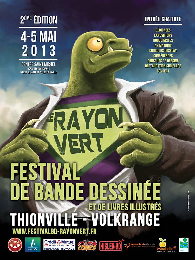 """Affiche festival BD """"le Rayon Vert"""" 2013."""